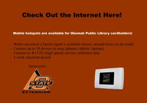 Hotspots Now Available at the Library!